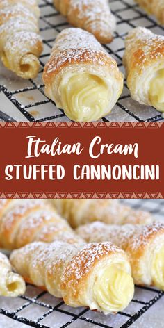INGREDIENTS: YIELD: 12 cannoncini For the custard cream (crema pasticcera): 3 egg yolks 3 tablespoons gr) of flour cup . Best Dessert Recipes, Fun Desserts, Delicious Desserts, Yummy Food, Baking Desserts, Italian Desserts, Holiday Desserts, Quick Recipes, Recipes Dinner