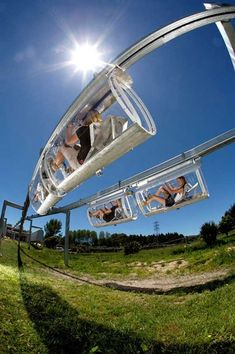 60 Crazy Things to Do Before You Die - from Volcano Boarding to Heli Yoga to go karts in Germany *** the Shweeb, a pedal-powered monorail at Agroventures Adventure Park in Rotorua, New Zealand*** Oh The Places You'll Go, Places To Travel, Places To Visit, Dream Vacations, Vacation Spots, Family Vacation Destinations, Travel Destinations, Beach Paradise, Before I Die