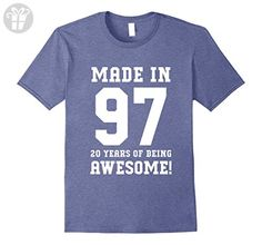 Mens 20th Birthday Gift T-Shirt Made In 1997 Awesome Large Heather Blue - Birthday shirts (*Amazon Partner-Link)