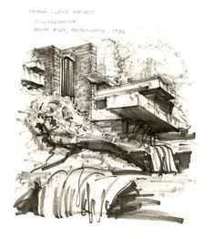 Image result for sketch falling water frank lloyd wright