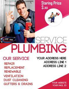 Plumbing Service Address Business Flyer Template Flyers Ruffles Leaflets