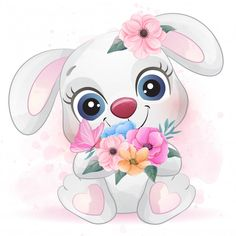 Discover thousands of Premium vectors available in AI and EPS formats Baby Animal Drawings, Cute Drawings, Watercolor Flower Background, Floral Watercolor, Watercolor Effects, Cute Cartoon Wallpapers, Cute Animal Pictures, Cute Images