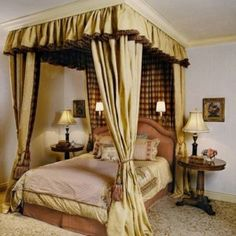 Elegant Canopy Curtain With Tassels And Ruffle Valance , Bedroom Canopy Curtain In Bedroom Category