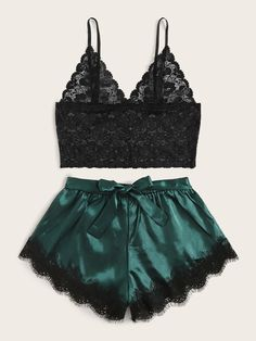 Shop Floral Lace Bralette With Satin Shorts at ROMWE, discover more fashion styles online. Sexy Lingerie, Jolie Lingerie, Lingerie Outfits, Lace Lingerie Set, Pretty Lingerie, Slytherin Clothes, Cute Sleepwear, Satin Shorts, Lace Shorts