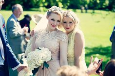 A Pale Pink Wedding Dress, Red Lipstick And Shades Of Yellow For A Glamorous, Quirky And Vintage Inspired Waterside Affair
