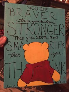 Winnie the Pooh and quote canvas painting commission. painted by me, inspiring … Winnie the Pooh and quote canvas painting commission. Disney Canvas Paintings, Disney Canvas Art, Canvas Painting Quotes, Small Canvas Art, Easy Canvas Painting, Mini Canvas Art, Cute Paintings, Canvas Quotes, Diy Canvas