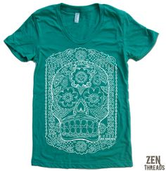 Womens DAY Of The DEAD T-Shirt american apparel S M L XL (17 Colors Available). $18.00, via Etsy.