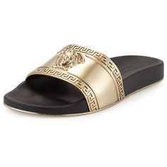 Versace Metallic Medusa-Head Slide Sandal ($395) ❤ liked on Polyvore featuring men's fashion, men's shoes, men's sandals, versace mens shoes and mens metallic shoes