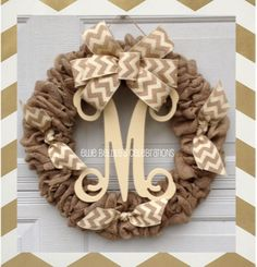 Burlap wreath measures approximately 24 in diameter and is embellished with burlap chevron ribbon and your choice of vine monogram (see picture for letters available) Available in ivory, red, black and turquoise.    GIFT SENDING: We love sending items directly to your friends and family! If youre ordering a gift, you can edit the address in Paypal when you checkout, just click EDIT when Paypal shows you the final total and shipping destination. If you need to send items to multiple…