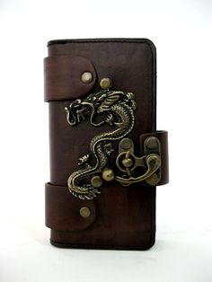 HANDMADE VEGETABLE LEATHER CELLPHONE CASE FOR IPHONE 5&5se WITH DRAGON EMBLEM-S #Apple