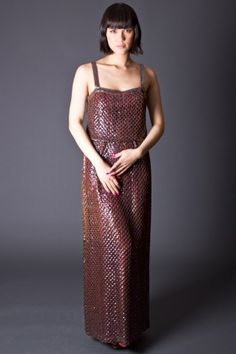 Gorgeous 70s style sequin maxi dress in rust.