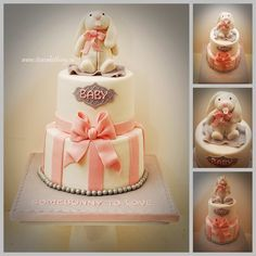 I loved making this Baby Shower Cake. I was asked to incorporate a Bunny theme into the baby shower cake for a girl. I thought the pink, white and grey would be so cute and I LOVE how this turned out. When I dropped it off this morning it matched her decor so well too. Congratulations Kirsten and a big Congrats to the soon to be first time grandma too!