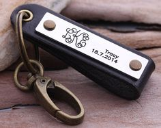 Personalized Leather keychain  Monogram keychain  by aimeehandmade