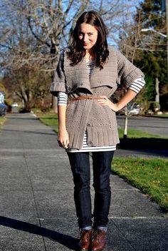 belted cardigan over stripes