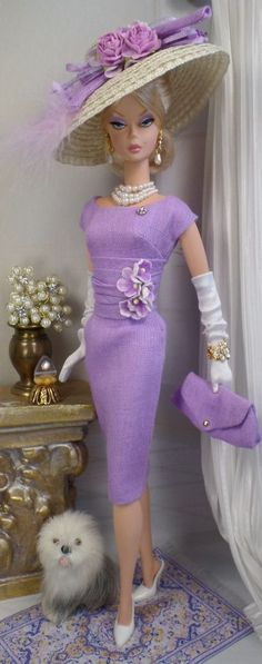 An exquisite lilac linen dress with matching hat... for Silkstone Barbie. (Easter Morning Custom Fashion by Matisse.)