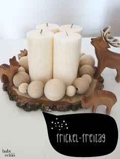 adventskranz-diy-holzkugeln-ostheimer-TB - New Ideas Christmas Advent Wreath, Christmas 2017, Rustic Christmas, Winter Christmas, Christmas Time, Christmas Crafts, Yule, Diy Wreath, Xmas Decorations