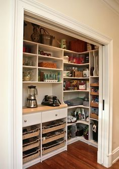 My parents used to have a pantry like this. But it also had the oven on one end and we used the wood block counter as a prep area for baking. I loved it! I want one!