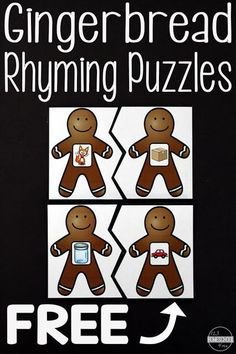 FREE Gingerbread Rhyming Activities - these puzzles are so cute! A fun way to work on rhymes this holiday season with preschool and kindergarten kids this holiday season! Kindergarten Centers, Preschool Literacy, Kindergarten Reading, Kindergarten Crafts, Literacy Skills, Preschool Ideas, Winter Preschool Activities, Preschool Rules, Literacy Stations