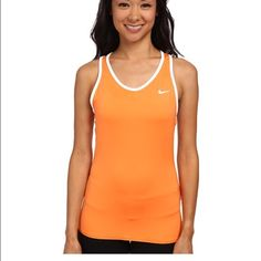 Sunday Sale! Nike Training Top So cute and comfortable to work out in! This Nike Dri fit top is orange on one side and white on the other! Nike Tops Tank Tops