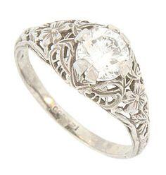 Orange Blossom Antique Wedding Ring RG 3441 The flowers