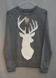 Leather Stag Deer Jumper Women's Grey Heather Lightweight Crew Neck Sweatshirt