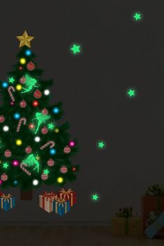 This would be so cute in a child's room Fairies Christmas Tree Glow in the Dark Decal Handyman Projects, Christmas Fairy, Weekend Projects, Xmas Ornaments, Xmas Decorations, Before Christmas, Light In The Dark, Glow, Seasons