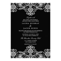 Black & White Floral Lace Wedding Invitation