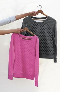 Dots on a sweater are cute.