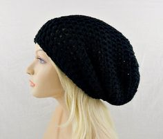 Black Crochet Beanie, Womens Beanie Hat, Slouchy Hat, Black Slouchy Beanie, EXTRA Large Hat, Crochet Slouch Hat, Vegan Beanie Hat