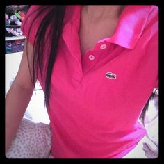 La coste polo Pink. Large younth. Small women. Like new Lacoste Tops Blouses