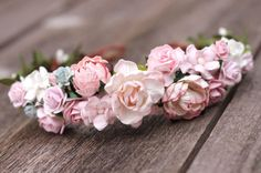 Pale Blush Pink Flower Crown Headband by weddingflowercrown