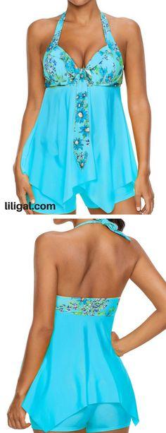 Light Blue Halter Neck Tankini Set   #liligal #swimwear #swimsuit