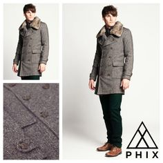 Men's Tweed Wool Pea Coat with Detachable Fur Collar...    £90    http://www.phixclothing.com/mens-tweed-wool-coat-with-detachable-collar-p-5199_.html