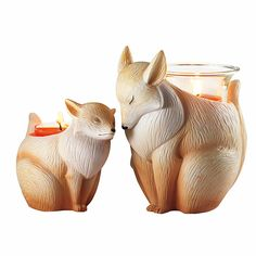 Nature's Love™ by PartyLite Mama & Baby Fox Candle Holders