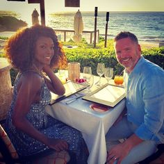 Gorgeous interracial couple dining at sunset #love #wmbw #bwwm #swirl #lovingday #relationshipgoals