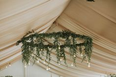 Wedding Countdown Drape your chandelier in greenery for an earthy touch to your wedding reception Wedding Reception Flowers, Wedding Venue Decorations, Floral Wedding, Rustic Wedding, Cozy Wedding, Plum Wedding, Wedding Greenery, Wedding Ideas, Wedding Themes