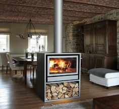 Contemporary mantel for central double-sided fireplace - JIDE