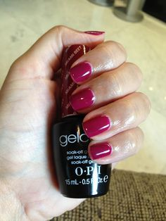 Fall color Rinnova spa also offers OPI gelcolor. Miami Beet shown here. Gelcolor is durable and no drying time after your manicure! Dark Pink Nails, Cute Pink Nails, Pretty Nails, Manicure Gel, Opi Gel Nails, Dark Skin Nail Polish, Gel Nail Polish, Gel Nail Colors, Gel Color