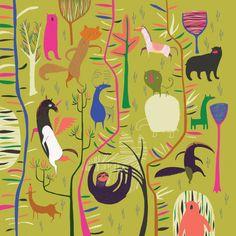 Ellos en el bosque. Ilustración © Anne Wilson. Señala encima de la imagen para verla más grande.