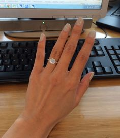 nucspring - 2 carat H/VS2 Ex-Ex-Ex Round Brilliant on cathedral setting with 2mm pave band, size 4 finger
