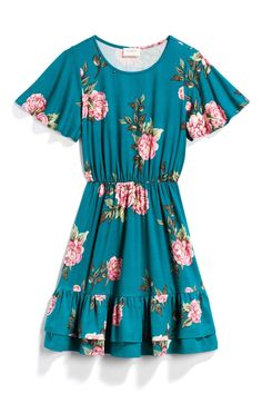 Everly Green Teal & Pink Floral Ruffle Dress - Stitch Fix Style Quiz