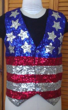 USA Flag Sequin Vest / Stars and Stripes by Lauralous on Etsy, $35.00