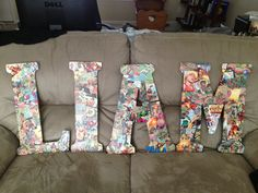 "Wooden letters, 5 comic books, and a jar of gloss Mod Podge. Perfect for our boys ""superhero"" themed nursery..."