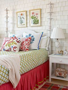 A shingled wall in a converted sunporch replicates the look and feel of a quaint cottage cabin Botanical artwork and bright bed linens pop against furniture that boasts p. Home Bedroom, Bedroom Furniture, Master Bedroom, Bedroom Decor, Cabin Bedrooms, Rustic Bedrooms, Cabin Furniture, Master Suite, Country Look