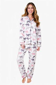6929a29e25 PJ Salvage Elephant Walk Flannel Pajama Set Flannel Pajamas