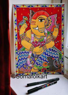 Madhubani Paintings Peacock, Madhubani Art, Indian Art Paintings, Watercolor Paintings Abstract, Tanjore Painting, Oil Paintings, Ganesha Drawing, Lord Ganesha Paintings, Ganesha Art