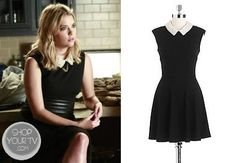 Hanna Marin (Ashley Benson) wears this black stretch-jacqurd dress with pearl collar in this week's episode of Pretty Little Liars. Pretty Little Liars Seasons, Pretty Little Liars Fashion, Black Collared Dress, Pearl Dress, Fashion Tv, Other Outfits, Season 4, Flare Skirt, Shirt Shop