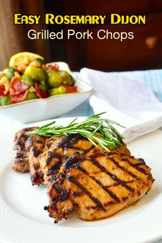 Rosemary Dijon Grilled Pork Chops or Chicken - this is a very simple marinade for either chicken or pork. The Dijon and fragrant rosemary go very well together and I think are very complementary to the meat. The touch of honey is meant to balance the tart mustard but it also helps create great grill marks and add caramelized flavor to the chops as well. It is a quick marinade and really doesn't need much more than 20 or 30 minutes before grilling.