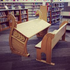 Viking Desk~ I wonder if I could similar styling on the back of my wheelchair. Maybe dragon heads or something.