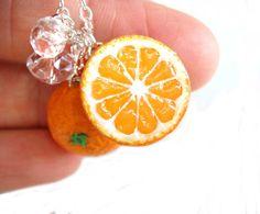 Orange Fruit Necklace $ 25.00 via Etsy